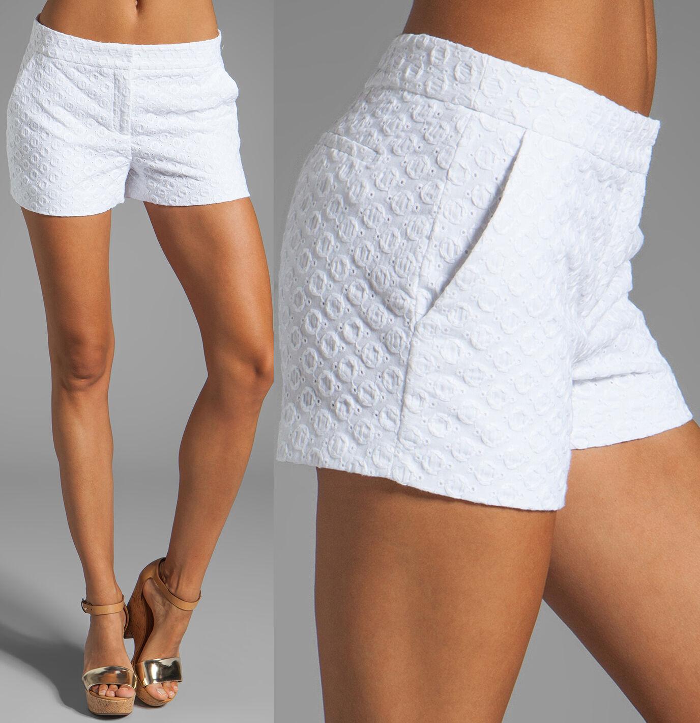 Diane Von Furstenberg DVF Fabiola White Eyelet Shorts 14