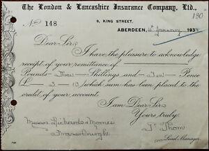 London-amp-Lancashire-Insurance-Co-King-Street-Aberdeen-Receipt-Billhead-1934