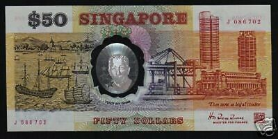 "SINGAPORE $50 P31 1990 POLYMER *REPLACEMENT* COMMEMORATIVE ""J"" RARE BANK NOTE"