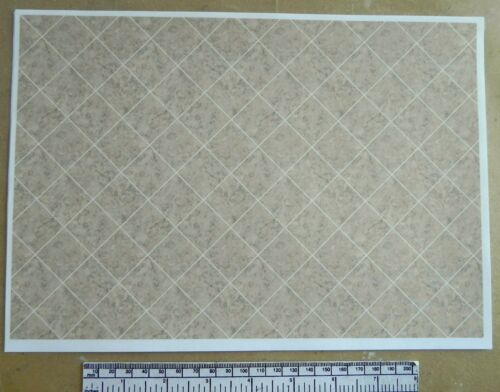 A4 sheet Dolls house 1//12th scale paper marbled beige//grey tile flooring