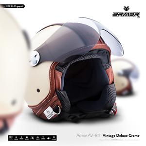 ARROW-AV-84-Vintage-D-creme-casque-Jet-Vespa-moto-scooter-helmet-XS-S-M-L-XXL
