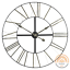 Black Iron Clock Cut-Out Design with Silver Roman Numerals Large Wall Clock 90cm