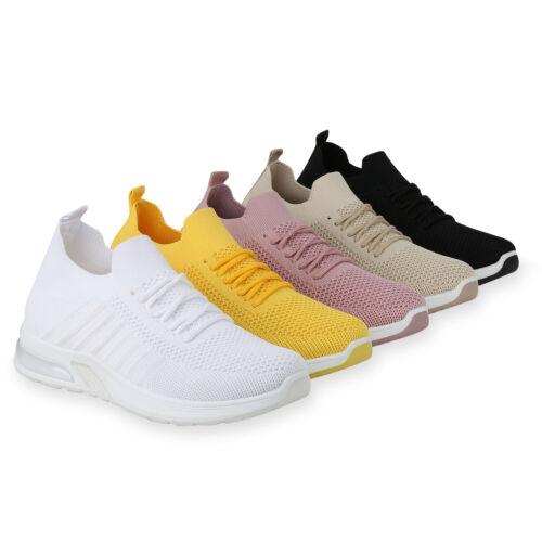 Damen Sportschuhe Laufschuhe Profilsohle Strick-Optik Schnürer 834550 Schuhe