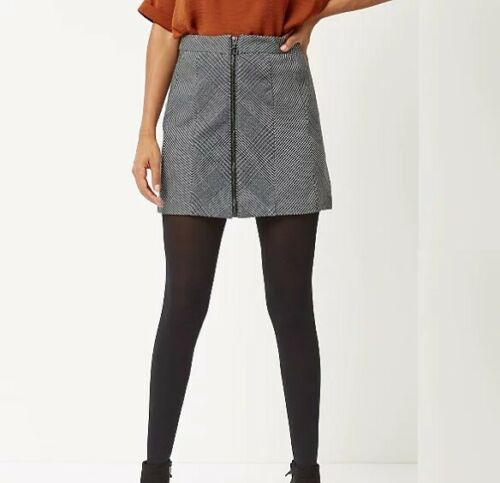 Grey Houndstooth Check Print Zip-Front Skirt George BNWT UK SIzes 10-22