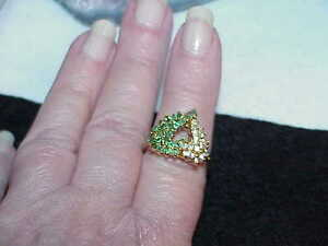 Vintage-Gold-Sterling-Filigree-Heart-Emerald-CZs-Ring-Size-8