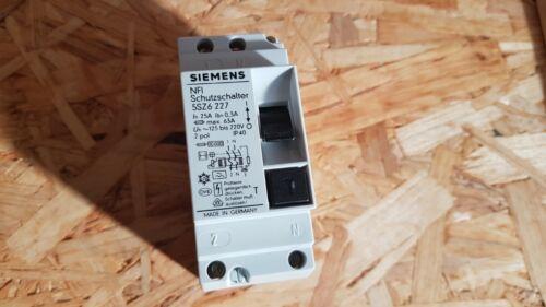 Siemens FI 5SZ6 227 Schutzschalter Sicherungsautomat Leitungsschutz 25A//300mA//2P