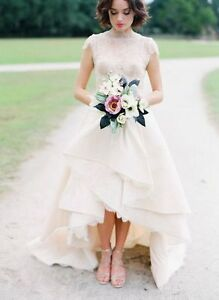 Latest Fashion High Low Wedding Dresses Short Sleeve Bridal Gowns Custom Size Ebay