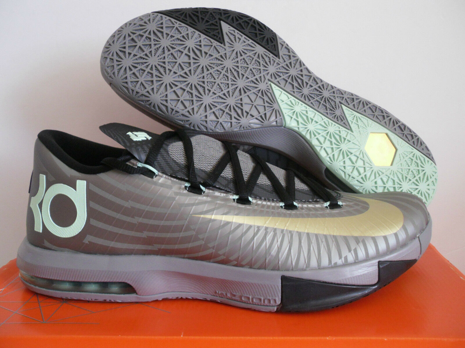 NIKE KD VI PRECISION TIMING PEWTER-MET GOLD-BLACK SZ 14 [599424-003]