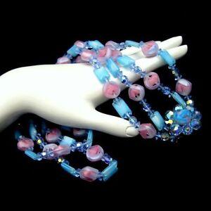Vintage-2-Multi-Strand-Givre-Glass-Crystal-Beads-Necklace-Chunky-Blue-Pink