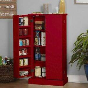 Details about Kitchen Pantry Cabinet Tall Storage Organizer Utility Shelf  Cupboard Wood Red