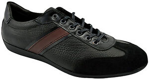 195-REACTOR-Black-Leather-Suede-Driving-Casual-Sneakers-Men-Shoes