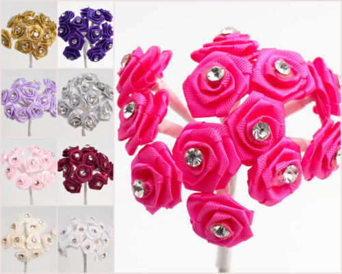72 pack Diamante Ribbon Rose Flowers Wedding Decoration Favour Boxes Craft