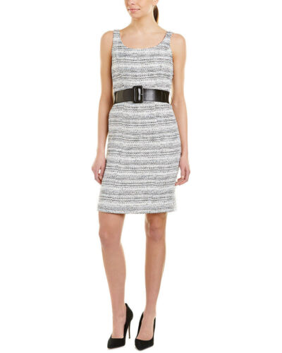 Levine Womens Belted Bouclé Sheath Dress IVORYBLACK BLUE Tahari By Arthur S