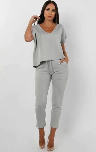 Details about  /Ladies V neck Tracksuits 2 Pcs Womens Uk Size Pants Loungewear 2 Pcs Suits