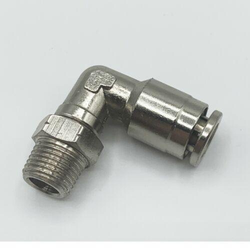 "10 Push To Connect Air Fitting 1//4/"" OD Tube X 1//8/"" NPT Pneumatic 90 Deg Elbow"