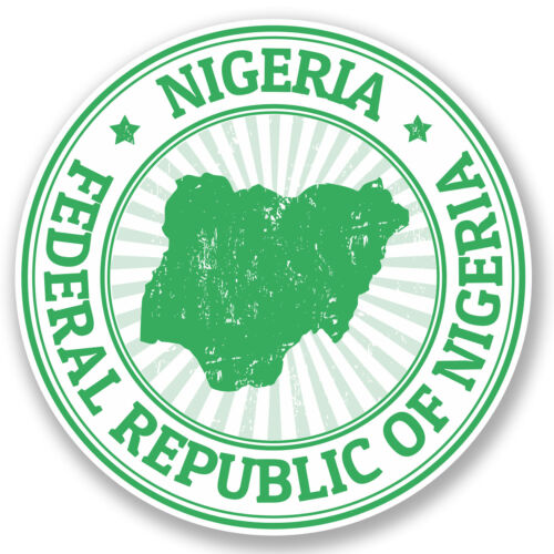 2 x Nigeria Vinyl Sticker Decal iPad Laptop Car Luggage Travel Flag Map #4782