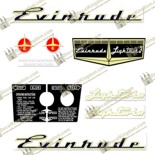 Evinrude 1957 Vintage Outboard Engine Decals (Multiple Styles) 3M Marine Grade