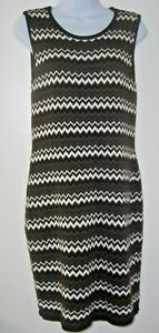 Calvin Klein Sweater Dress Womens M Brown/Black/White Chevron Stripe Sleeveless