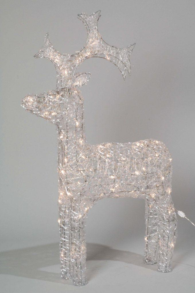 60cm 2ft Acrylic Standing Reindeer Outdoor - Warm Weiß LED