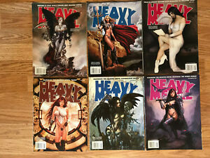 Lot-of-6-Vintage-2008-Heavy-Metal-Adult-Fantasy-Magazines