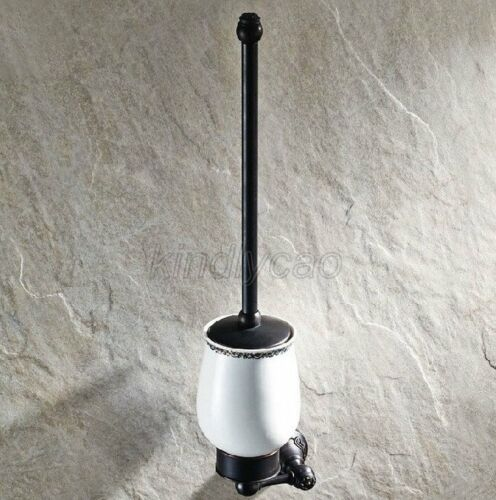 Oil Rubbed Bronze Wall Mount Bathroom WC Toilet Cleaning Brush Holder Set Kba448
