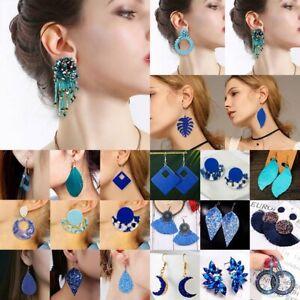 Fashion-Blue-Crystal-Tassel-Resin-Eearrings-Women-Statement-Drop-Dangle-Jewelry