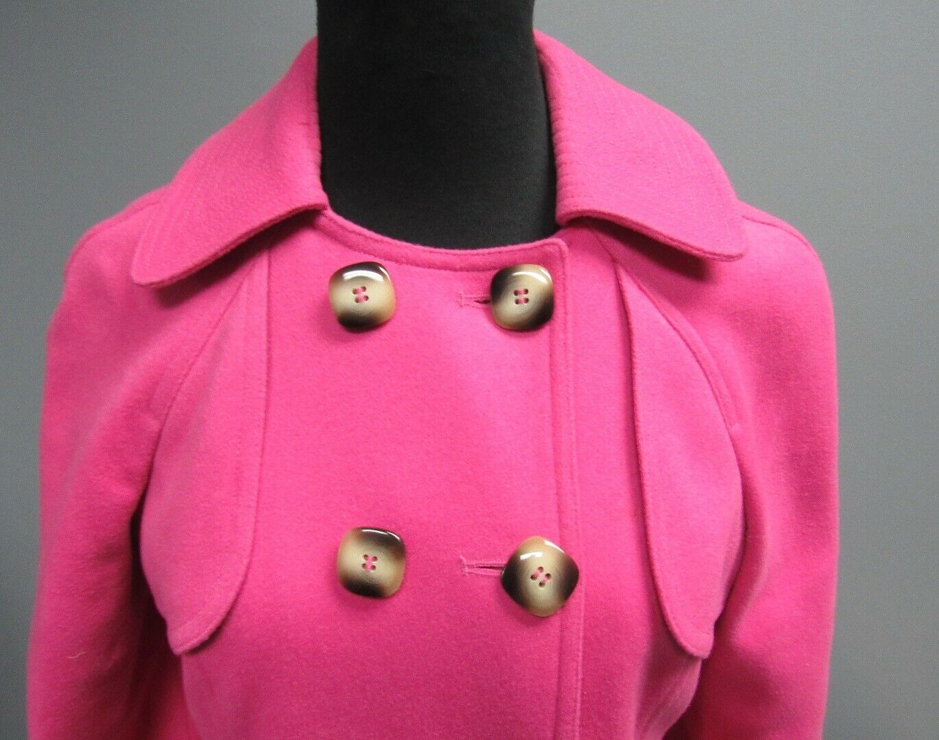 TIBI Pink Wool Blend Lined Lined Lined Collared Button Front Midweight Blazer Sz 2 GG2925 10416c