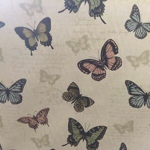 Butterfly-Moth-Beige-Grey-Black-Linen-Curtain-Craft-upholstery-Fabric