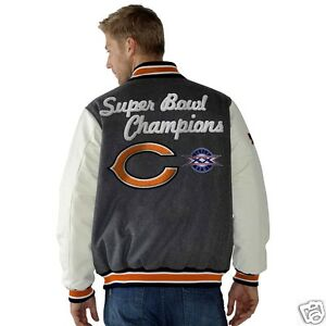 5316b189 Details about Chicago Bears jacket leather sleeves wool blend NFL Bears  coat FREE SHIPPING