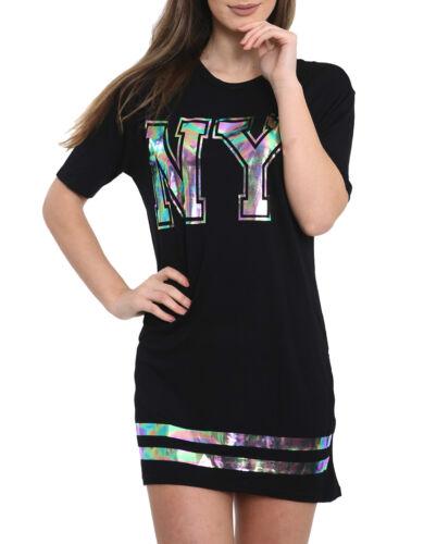 Womans Graphic Slogan 50//50 Lion Girl Long T-Shirt Mini Dress NY Foil Print Top