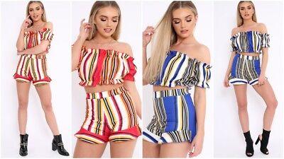 Vereinigt Uk Women Stripe 2 Pcs Co Ord Set Crop Top + Short Pants Trouser Beachwear Outfit