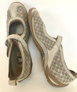 Merrell-OrhtoLite-Circuit-Flats-Suede-Textured-Pattern-Adj-Strap-women-8-5-Taupe