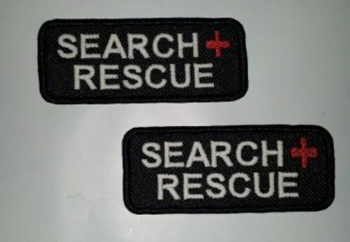 """2 Glow In Dark Small Sew-On Embroidered Patches-EMT K-9 SEARCH MEDIC 1 1//4 x 3/"""""""