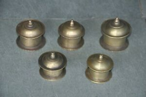 5-Pc-Old-Brass-Unique-Shape-Handcrafted-Small-Kumkum-Powder-Boxes