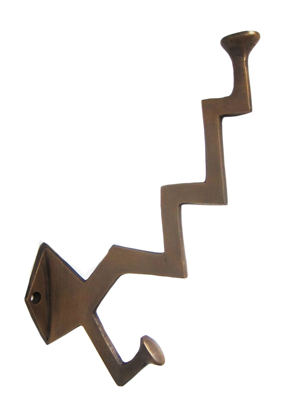 Solid Brass wall door hook for coats hats,zig-zag shape 20 cm screws provided