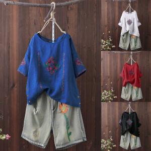 Mode-Femme-T-shirt-Manche-Courte-Broderie-Casual-Loose-Coton-Haut-Tops-Plus