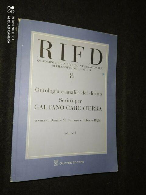 RIFD 8 QUADERNI FILOSOFIA DEL DIRITTO CARCATERRA GAETANO VOLUME PRIMO