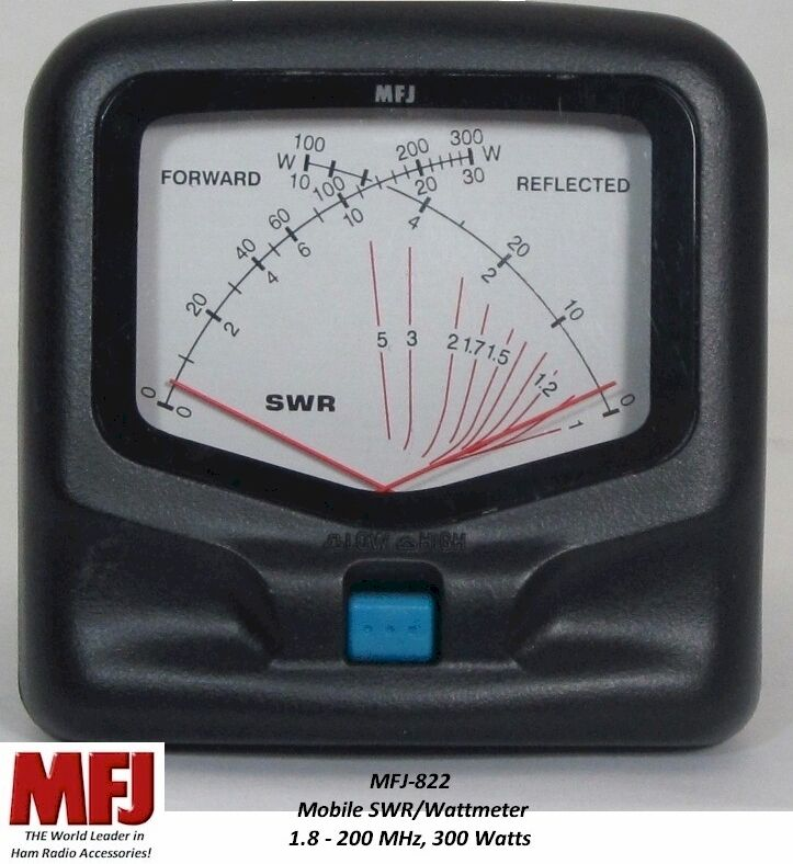 MFJ-822 thehamshop MFJ-822 SWR/Wattmeter, HF/VHF - 1.8-200 MHZ, 300 Watts, Mobile