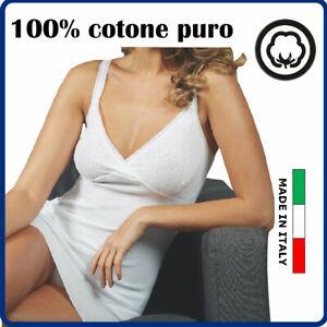 Canotta reggiseno donna COTONE Canottiera intimo spalla stretta con forma seno