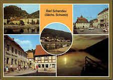 Bad Schandau Kr. Pirna Sachsen DDR AK mit Poststraße Markt Dampfer-Anlegestelle