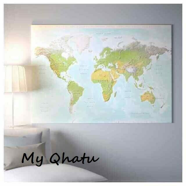 Ikea Bjorksta Picture Planet Earth Map 78 3 4 X 55 Canvas Only No Frame New For Sale Online