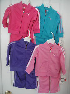 PUMA-NWT-2PC-Girl-Track-Suit-Jacket-Pant-Top-Warm-Up-Pink-Teal-Purple-12-18-24