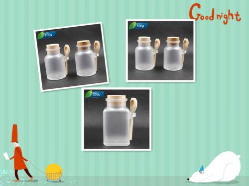 10pcs Jars with cork&spoon 100g/200g/300g Bath Salt Powder Bottle Dressing ABS