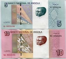 ANGOLA SET 2 UNC 5 10 KWANZAS 2012 / 2017 P NEW DESIGN 1 SET = 2 PCS