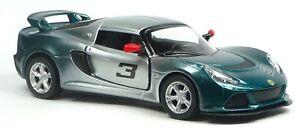 2012-Lotus-Exige-S-AUTO-SPORTIVA-MODELLO-DA-COLLEZIONE-VERDE-ARGENTO-circa-1-32-merce-nuova-Kinsmart