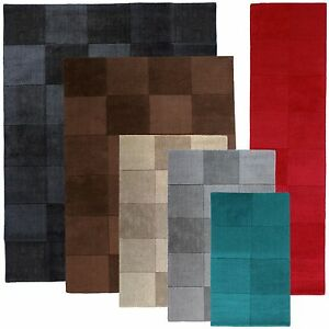 Wool-Rugs-amp-Hall-Runners-Squares-range-of-Sizes-Plain-Teal-Grey-Red-Black-Beige