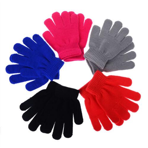 Children Gloves /& Mittens Girl Boy Kid Stretchy Knitted Winter Warm BT CA