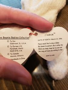 4b28b9a1b77 Image is loading Ty-Beanie-Baby-Babies-Fleece-The-Lamb-March-