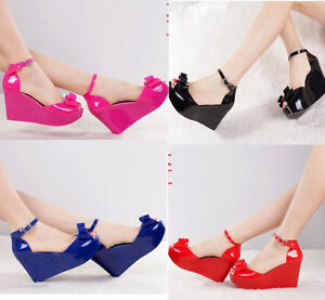 d48ea8305bd1 Ladies Melissa Tops Bow Women s Wedge Platform Buckle jelly High ...