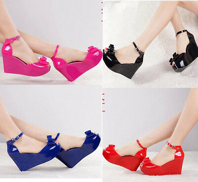 Ladies Melissa Tops Bow Women's Wedge Platform Buckle jelly High Sandals Shoes